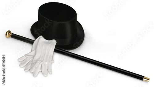 Top hat, white gloves & cane - 5402680