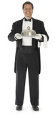 Waiter standing full front view on white background poster