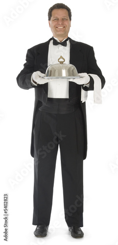 Waiter standing full front view on white background