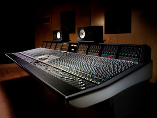 Large console in recording studio