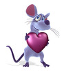 3D render of a cute cartoon mouse holding a heart.