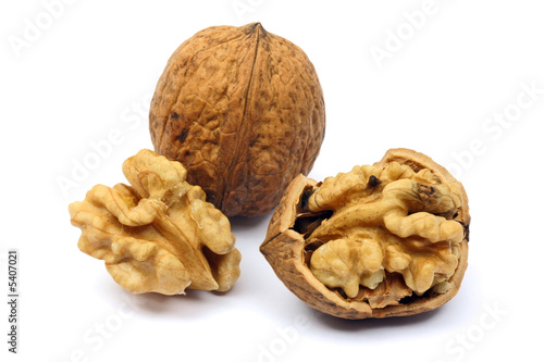 Walnut close-up, isolated on white