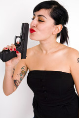 Girl Kissing Gun