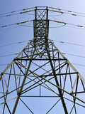 metal pylon carrying electricity supply power lines poster