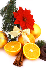 Christmas ballsand orange on a white background