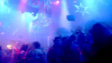 Nightclub scene with christmas decor and dancing crowd in motion poster