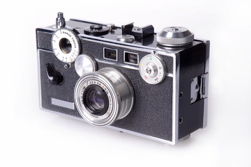 Side view of classic film rangefinder camera