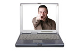 Silver portable computer.Isolated white screen - Front view.