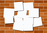 Pieces of paper for announcements. Are attached to a brick wall. poster