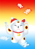 japanese new year cat (maneki-neko) with lucky sign in vector poster