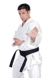 Black belt karate expert with fight stance poster