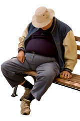 Isolated image of heavy older gentleman asleep on city bench.