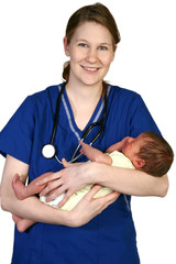 Newborn Baby with Nurse