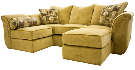 Tan Micro Fiber Sectional Sofa Group with Ottoman