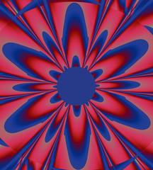 Fiore simmetrico con sfumature di colore rosso/blu