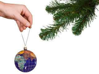 Cristmas tree, hand and earth, isolated on white background