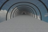 The tunnel in clouds. 3D image. poster