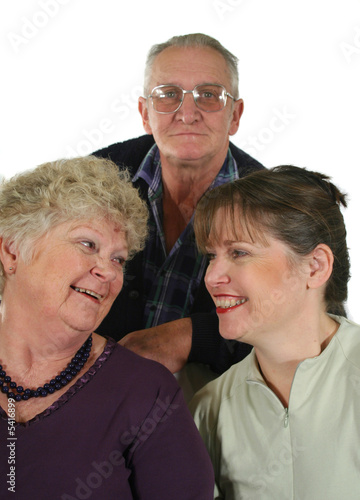 Mother, daughter and father enjoying each other's company.