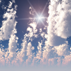 Fractal High Cumulus Clouds with Sun