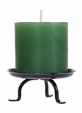 Green candle cutout on white background with clipping path poster