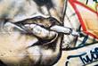 Fototapete Mund - Zigarette - Graffiti