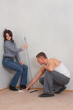 Couple is cleaning a new flat. Some flirtation...