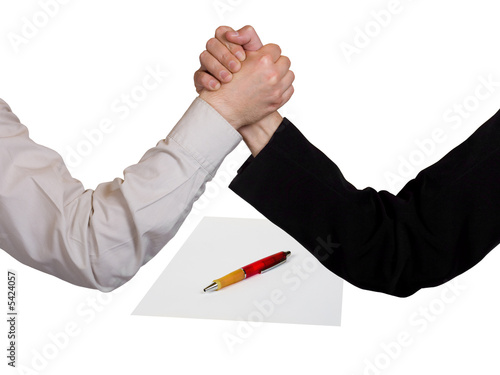 Two wrestling hands and contract, isolated on white background