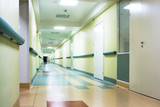 Fototapety long corridor in hospital with doors and reflections