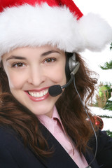 A customer service business woman at Christmas