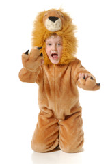 The boy in a fancy dress of a lion