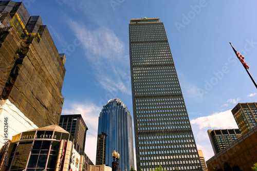 dramatic wide angle image of bostons copley square