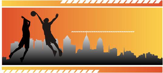 juego de baloncesto en la ciudad en vector