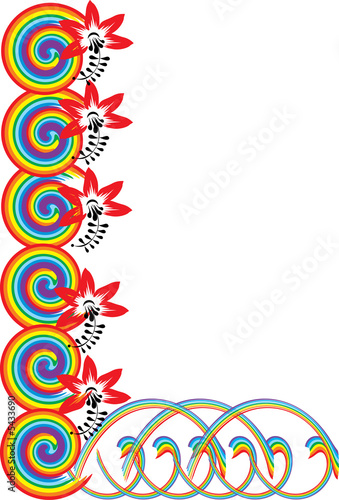 flower and rainbow ornament