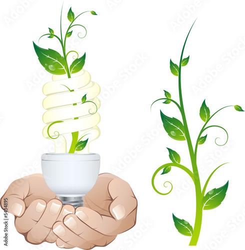 ampoule et plante tenues entre les mains de beboy fichier vectoriel libre de droits 5434895. Black Bedroom Furniture Sets. Home Design Ideas