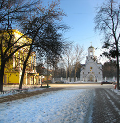russian town Fryazino сentral alley with church