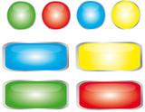 boutons 04 couleurs rond + rectangle poster