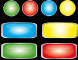 boutons 04 couleurs rond + rectangle fond noir poster