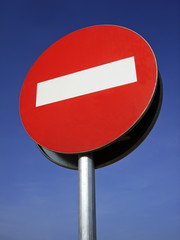Forbidden Direction Signal in an european road