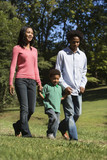 Parents and young son walking in park holding hands. poster