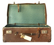 Vintage brown leather suitcase, open.  With clipping path.