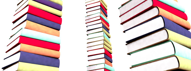 3d colored books isolated on white