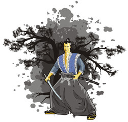samurai on background tree black colour