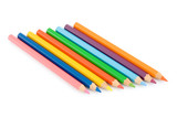 Several color pencils on a white background poster