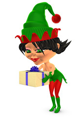 Christmas elf 3d charming girl carry gift