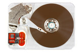 Open hard disk drive - data storage device, isolated on white. poster