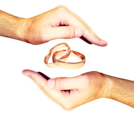 human hand with 3d rings on the background