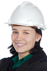 Attractive young engineer over a white background