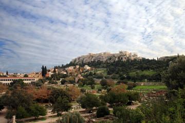 Athens, Greece - View of  thr Agora,  Acropolis, and Parthenon