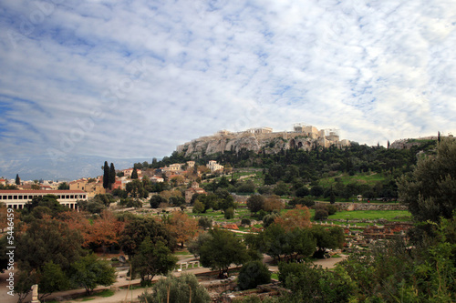 Athens, Greece - View of  thr Agora,  Acropolis, and Parthenon