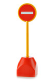 Toy No Entry sign isolated over white background poster